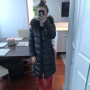 Duvetica Long Puffer Coat with Fur Hood